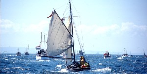 'Cachalot' is asked to trice up the mainsail by Tom Cunliffe